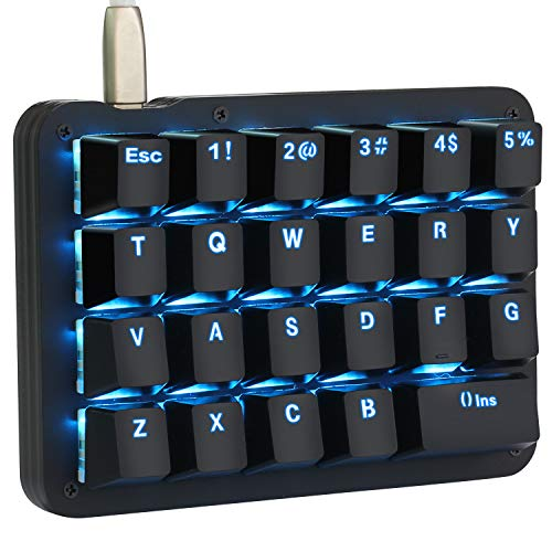 Koolertron Einhand Mini Tastatur, Mechanische Gaming Tastatur mit 23 Voll Programmierbaren Tasten, Gaming Tastatur für Windows Mac Schreibkraft PC Gamer (Black/Blue Backlit/Blue switches)