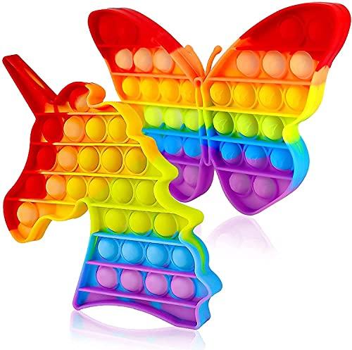 BINGE Pop It Fidget Toys,Push Pop Bubble Fidget Sensory Toy,Autism Special Needs Silicone Stress Relief Toy,Great Fidget Toy @ Novelty Gifts for Girls Boys Kids Adult ((2 PC)(Butterfly+Unicorn))