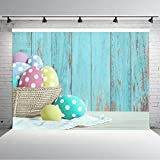 Aperturee 7X5ft Spring Easter Backdrop Colorful Eggs Wooden Wall Photography Background Party Decoration Baby Shower Children Family Kids Adult Portraits Banner Supplies Photo Backdrop Studio Props