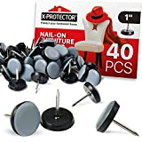 """Chair Glides X-PROTECTOR – Furniture Glides 40 pcs – Best Nail on Furniture Sliders – Premium Chair Leg Floor Protectors φ 1"""" – Slide Effortlessly with Chair Leg Pads That Protects Your Floor!"""