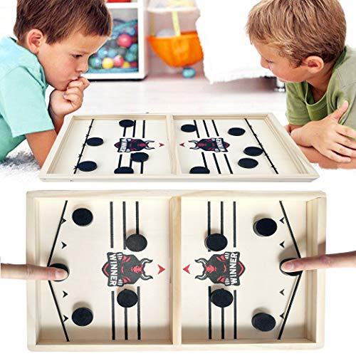 Yeelan Fast Sling Puck Spiel, Holzhockeyspiele Tischhockey Desktop Sport Spielzeug Schlacht 2 in 1 Gewinner Brettspielzeug für Kinder Adult Family Party Geschenk