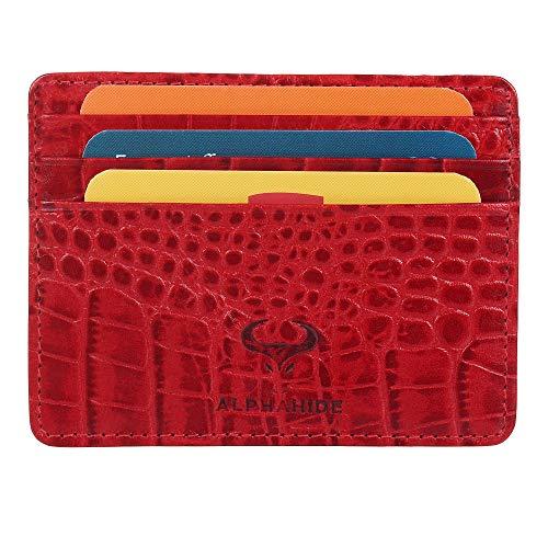 Women's Credit Card Holders, Ladies Leather Card Wallets for Women, Ladies RFID Blocking Wallet Women, Slim Card Case, Women Card Wallets, Front Pocket Wallet, Slim Minimalist Wallet -Red Croc