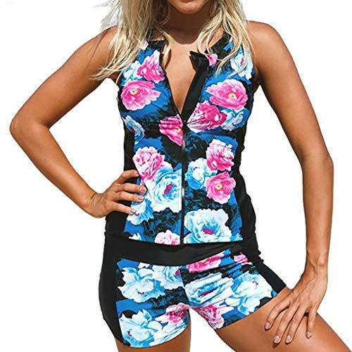 Pas cher Été maillot de bain, Tankini Floral Floral Zip Front avec sans manches Rash Guard Prix réduit ! crop top trikini tankini sexy pour Saint-Patrick (Bleu-M)