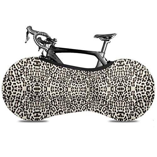 Lovely Huskies Hermano Cubierta de Bicicleta Portátil Cubierta de Interior Anti Polvo Alta Elástica Cubierta de Rueda de Bicicleta Protector Rip Stop Neumático Carretera MTB Bolsa de Almacenamiento, Leopardo más grande y mejor, talla única