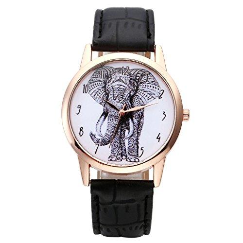 JSDDE Damen Armbanduhr Analog Quarz mit Lederarmband Vintage Skizze Elefant Schwarz