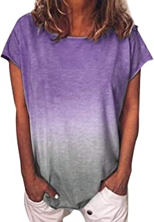 Women's Gradient Color Short Sleeved T-Shirt Casual Tunic Blouse Tops