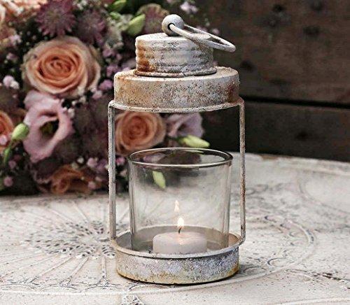 Windlicht Teelichthalter Laterne mit Glaseinsatz zum Aufhängen Deko creme-beige Landhaus Nostalgie Vintage French Chic Antique