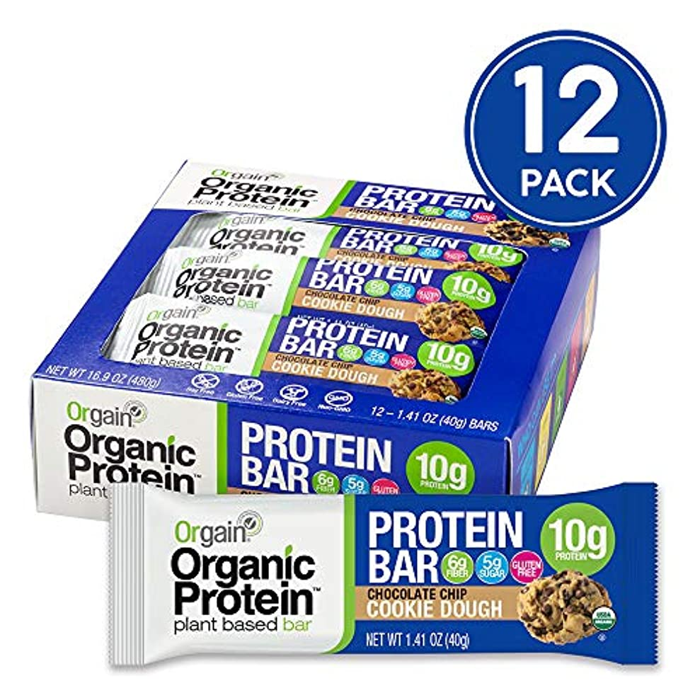 Orgain Organic Plant Based Protein Bar, Chocolate Chip Cookie Dough - Vegan, Gluten Free, Non Dairy, Soy Free, Lactose Free, Kosher, Non-GMO, 1.41 Ounce, 12 Count jxbgejoup0029