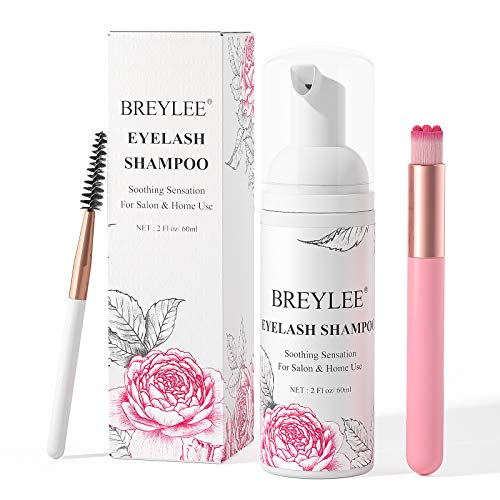 Eyelash Extension Cleanser, BREYLEE Eyelash Extension Shampoo Eyelash Extension Foam & Brushes Eyelid Cleanser for Makeup Remover Paraben & Sulfate Free for Salon and Home Use(60ml, 2 fl oz)