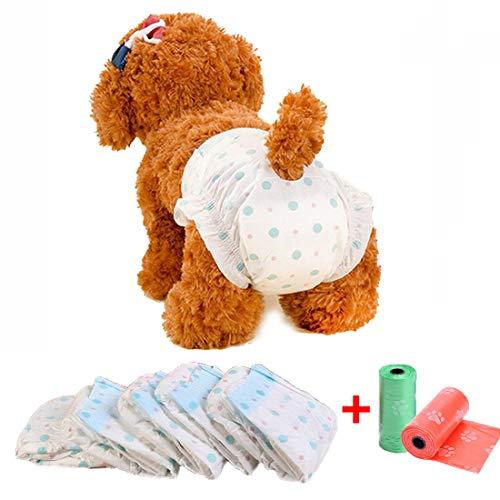 Pañales desechables para perros para mujeres, pañales para perros, ultra protección, ajuste cómodo, a prueba de fugas, pañales para perros con calor o incontinencia del perro, 1 paquete de 10 tabletas