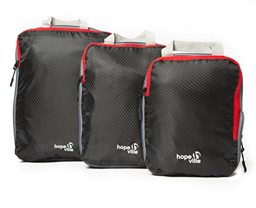 HOPEVILLE Packtaschen Set mit Kompression, 3-teilige Premium Koffertaschen für perfekt organisiertes Reisegepäck, ultraleichte Reise Organizer und Kleidertaschen für Rucksack, Koffer und Handgepäck