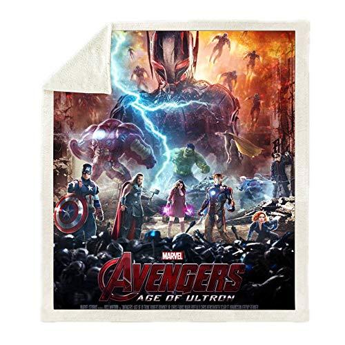 LIFUQING Superhero Avengers Manta Sherpa Impresa En 3D Sofá Sofá Funda Nórdica Ropa De Cama De Viaje Manta De Lana De Terciopelo-150x200cm