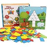 Puzzle di Modello in Legno,Colorato Geometria Forma Sega Tangram Blocchi Giochi di Abbinamento con Il Numero 0-9 & 10 Carte di Forma,educativo Intelligenza Sviluppo Giocattoli per Bambini