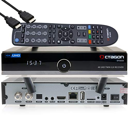 OCTAGON SF8008 4K UHD HDR HEVC Twin Sat Festplattenreceiver 2x DVB-S2X Multistream - E2 Linux Smart TV Box, Media Server, PVR Receiver mit Aufnahmefunktion - inkl. EasyMouse HDMI-Kabel & Dual WiFi