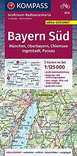 Bayern Süd, Oberbayern, Chiemsee, Ingolstadt, Passau, München 3712: Großraum-Radtourenkarte 1:125000, GPX-Daten zum Download (KOMPASS-Großraum-Radtourenkarte, Band 3712)