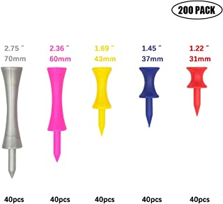 Golf Castle Tees Step Down Tees Plastic Tees Pack for Height Control Practice-Mixed Size,50pack,100pack,200pack