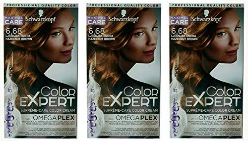 3x Schwarzkopf Color Expert Intensiv-Pflege Color-Creme 6.68 Haselnuss Hellbraun, 3er Pack