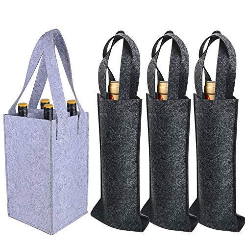 4 pz Borsa Porta Bottiglie Vino Acqua in Feltro con Manici include 1 pz con 4 Scomparti e 3 pz Bottiglia Singola Sacchetto Pieghevole (Grigio Scuro +