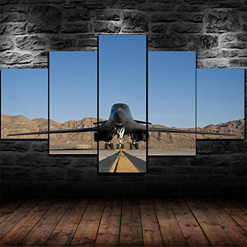 AWER 5 piezas de lienzo de arte de pared Fuerza Aérea de Rockwell B-1 5 piezas de lienzo Foto Regalo Moderno Decoración Decorativo para Tu Salón o Dormitorio Mural Hd Con Marco