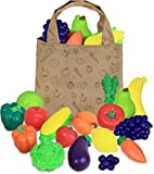 Click N' Play Pretend Play Fruit & Vegetable & Canvastote Bag for Kids Play (Set of 18),Multicolor