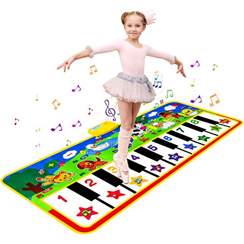 Piano Matte Klaviermattem Tanzmatten Musikmatte Kinderspielzeug ab 2 jahre mit 8 Tierstimmen & 9 Melodie,135x60CM Große Größe Spielzeug Piano Mat für Jungen Mädchen Kinder Lernspielzeug Geschenke