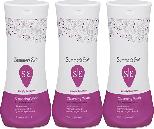 Summer's Eve Cleansing Wash | Simply Sensitive | 15 Ounce | Pack of 3 | pH-Balanced | Dermatologist & Gynecologist Tested