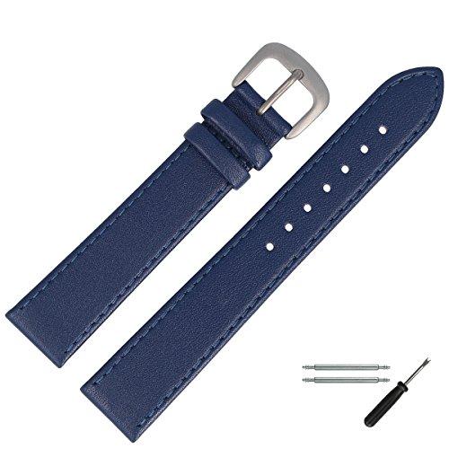 MARBURGER Uhrenarmband 16mm Leder Blau Titan - Werkzeug Montage Set 7591651000420