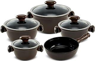 Conjunto de Panelas de Cerâmica Chef, 5 Peças, Chocolate, Ceraflame