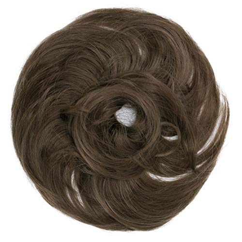PRETTYSHOP Scrunchie Bun Up Do Hair piece Hair Ribbon Ponytail Extensions Wavy Curly or Messy Various Colors(light brown 10A)