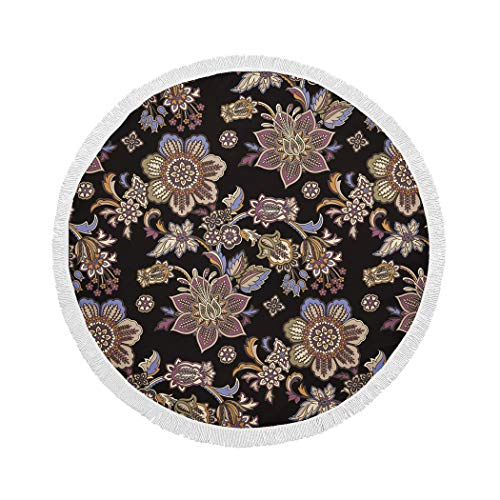 MQPPE Black Round Beach Towel, Colorful Floral and Paisley Large Circle Beach Towel with Tassels, Beach Blanket Sand Proof Oversized Yoga Mat Towel, 59 Inches