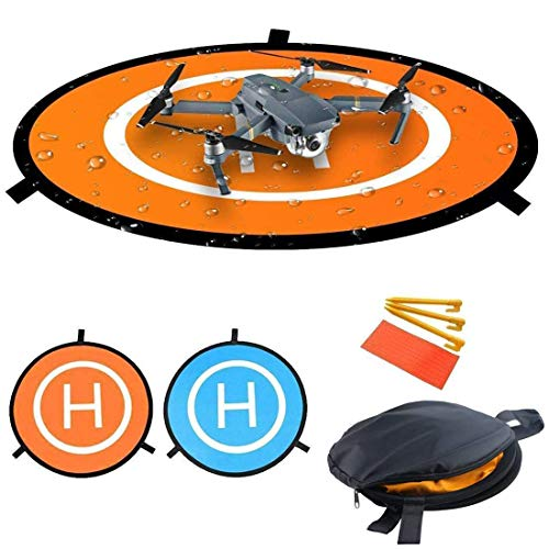 Nylon Drones Parking Landing Pad Foldable Aircraft Launch Pad Waterproof Portable Helipad for RC Drones Helicopter, PVB Drones, DJI Mavic Pro Phantom Pro (M-75CM)
