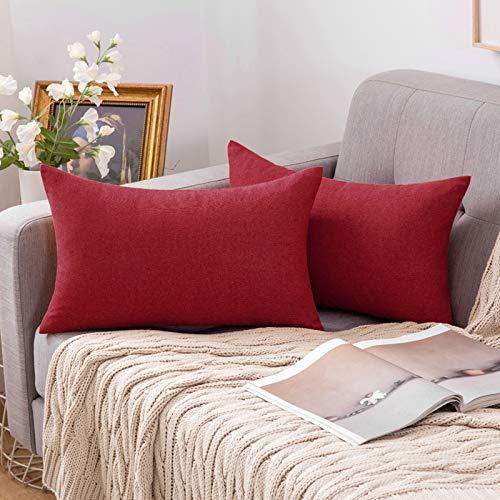 MIULEE Funda Cojines Fundas de Almohadas Lino de Imitación de Color Puro Duradero Decorativo para Sofá Cama Silla Habitacion Oficina Sofa Salón Dormitorio Lumbar 30x50cm 2 Piezas Rojo