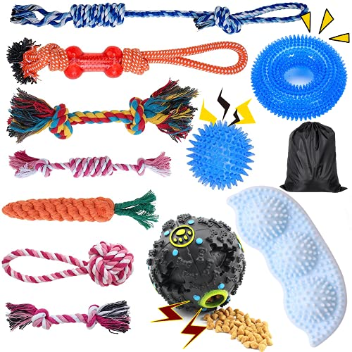 Decormax Dog Rope Toy for Puppy Teething,12 Pack Dog Toys for Puppy to Medium Chewers ,Dogs Rubber Ball,Dog Toy Bundle,Interactive Dog Rope Toys, Squeaky Dog Chew Toys for Grinding Teething