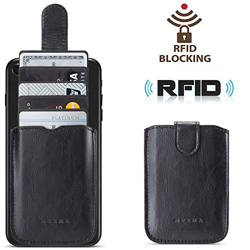 Phone Card Holder RFID Blocking, Pu Leather Back Phone Wallet Stick-OnPull up 5 Card Holder Universally Pocket Covers Credit Cards Cash for iPhone XS MAX /Android/Samsung/All Smartphones(Black)