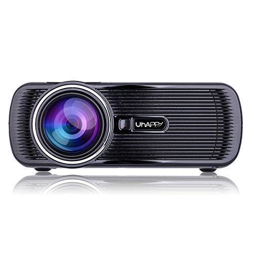 GAOHAILONG UHAPPY W-LAN HD Mini Beamer Andrews 6.0 Bluetooth 1080P 20.000 Stunden LED-Leben, Black