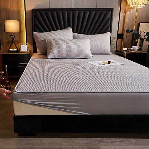 Nuoxuan Se Adapta Perfectamente al colchón,Hoja de la Cama de la impresión de látex de Seda de Hielo, Tapa Protectora Antideslizante Dormitorio de apartamento King Tamaño-Gris 3_120 * 200 cm