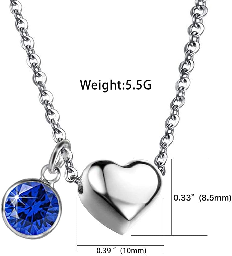 KunBead Birthstone Charm Heart Love Stainless Steel Necklaces for Women Girls Birthday Gifts Jewelry