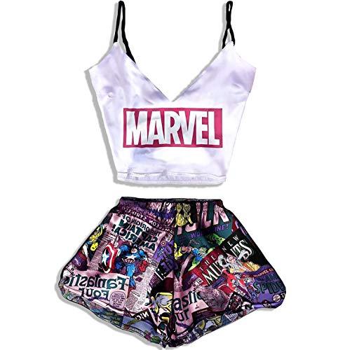 Marvel Comics Print Pajamas for Girls Women Teen Sleepwear Best Silk Good Gifts for Her Girlfriend Funny Gifts Luxury Sexy PJ