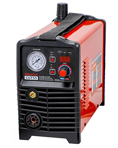 CNC Plasma Cutter, HeroCut55i Dual Voltage 120/240v Non-HF Blowback Pilot Arc Non-Touch IGBT Digital Inverter Air Plasma Cutting Machine 50Amps 16mm Clean Cut, Max Severance Cut 25mm