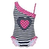 YiZYiF Mädchen Badeanzug Uv-Schutz Schwimmanzug gestreift Bikini Tankini Bademode Kleinkind Swimsuit Sommer Beachwear Strandmode Blau 98/2-3 Jahre