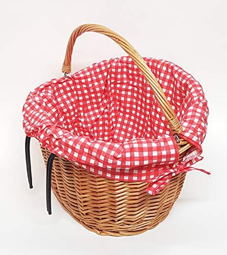 Tigana Fahrradkorb Einkaufskorb mit Tragegriff aus Weide für Lenker (oval 40 cm Natur mit Windschutz - Stoffeinlage)