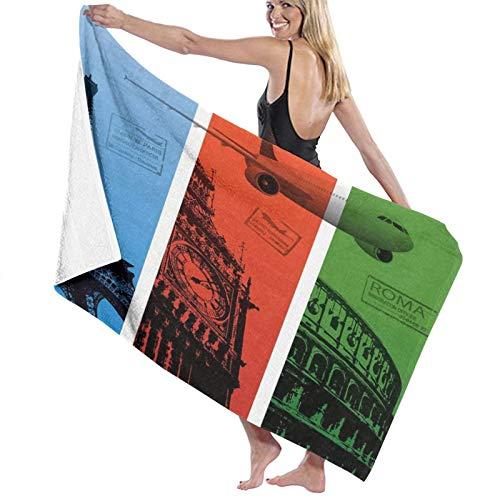 Fußmatte mit Turmmotiv und Eiffelturm, Paris, London, Rom, Italien, Reisepass, Frankreich, maschinenwaschbar, für drinnen und draußen
