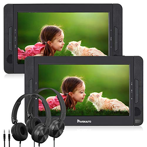 """NAVISKAUTO 10.5"""" Portable DVD Player Dual Screen for Car, Headrest Video Player with USB/SD/MMC Card Readers, Last Memory, 5-Hour Rechargeable Battery and Region Free"""
