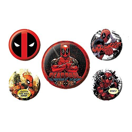 Echte Marvel Comics Deadpool 5 Stück Abzeichen Set Wade Wilson