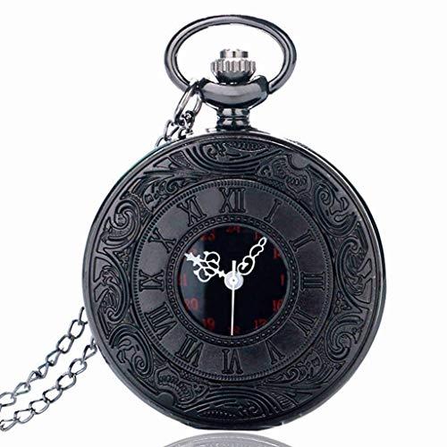 XXCHUIJU Estilo Antiguo numerales Romanos Reloj de Bolsillo Hombres Mujeres Negro Hueco Caso Cuarzo Steampunk Vintage Colgante Collar Regalo
