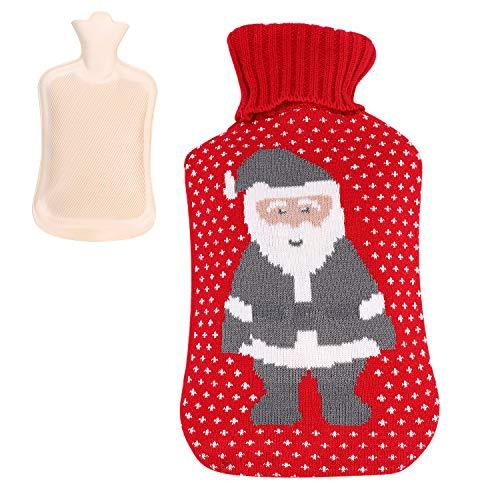 Borsa dell acqua calda, grande, 2 l, in PVC, scaldamani con fodera in lana lavorata a maglia, rimovibile, lavabile, per mani e piedi, per mantenere il corpo caldo e alleviare il dolore