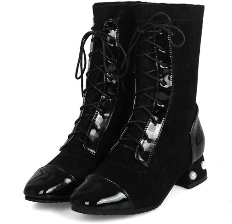 Womens High Heel Ankle Boots Block Lace up Zip Ladies Biker Winter Booties shoes Martin Boots,Black,37EU