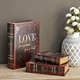 Deco 79 Wood Love is Patient Love is Kind Leather Book Box, 13 by 11 by 8-Inch, Mahogany Brown, Set of 3