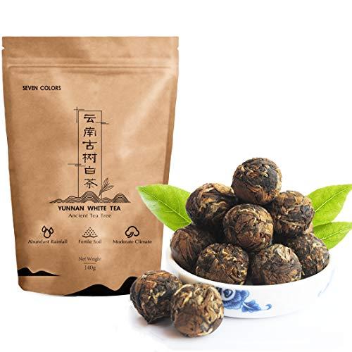 Seven Colors - Yunnan White Tea Dragon Pearls Tea White Tea White Loose Leaf Tea for Glowing Skin for Immunity Boosting Balls Tea Chinese White Tea 5oz 云南古树白茶 Breakfast Tea