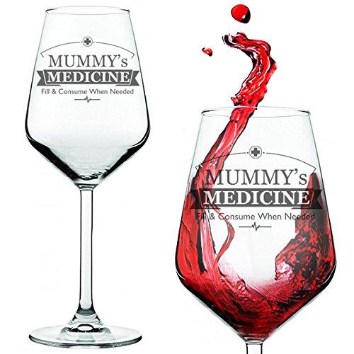 Copa de vino con inscripción 'Mummy's / Daddy's Medicine' para padres o madres estresadosCopa de vino tinto/blanco presentada en un tubo de regalo., vidrio, transparente, Mummy's Medicine Wine Glass